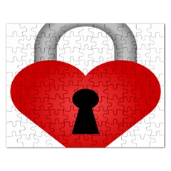 Heart Padlock Red Love Rectangular Jigsaw Puzzl by Mariart