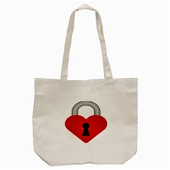 Heart Padlock Red Love Tote Bag (cream) by Mariart