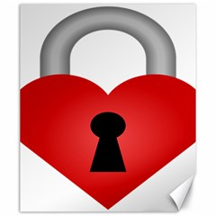 Heart Padlock Red Love Canvas 20  X 24