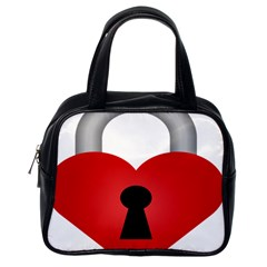 Heart Padlock Red Love Classic Handbags (one Side) by Mariart
