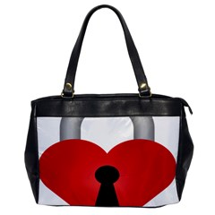 Heart Padlock Red Love Office Handbags by Mariart
