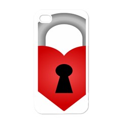 Heart Padlock Red Love Apple Iphone 4 Case (white)