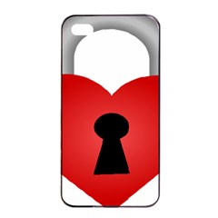 Heart Padlock Red Love Apple Iphone 4/4s Seamless Case (black) by Mariart