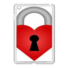 Heart Padlock Red Love Apple Ipad Mini Case (white) by Mariart