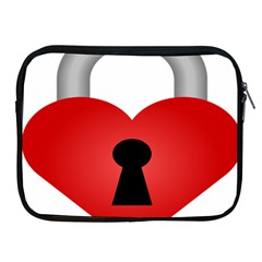 Heart Padlock Red Love Apple Ipad 2/3/4 Zipper Cases by Mariart