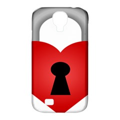 Heart Padlock Red Love Samsung Galaxy S4 Classic Hardshell Case (pc+silicone) by Mariart