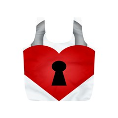 Heart Padlock Red Love Full Print Recycle Bags (s)