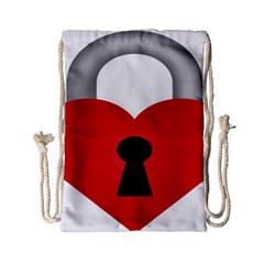 Heart Padlock Red Love Drawstring Bag (small) by Mariart