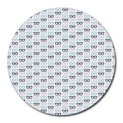 Glasses Black Blue Round Mousepads