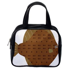 Illustrain Animals Reef Fish Sea Beach Water Seaword Brown Polka Classic Handbags (one Side) by Mariart