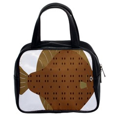 Illustrain Animals Reef Fish Sea Beach Water Seaword Brown Polka Classic Handbags (2 Sides) by Mariart