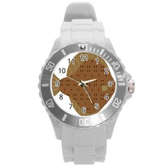 Illustrain Animals Reef Fish Sea Beach Water Seaword Brown Polka Round Plastic Sport Watch (l) by Mariart