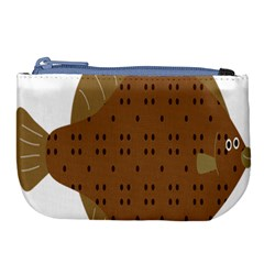 Illustrain Animals Reef Fish Sea Beach Water Seaword Brown Polka Large Coin Purse by Mariart