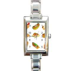 Hot Dog Buns Sauce Bread Rectangle Italian Charm Watch by Mariart