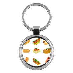 Hot Dog Buns Sauce Bread Key Chains (round)  by Mariart