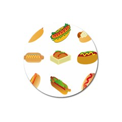 Hot Dog Buns Sauce Bread Magnet 3  (round) by Mariart