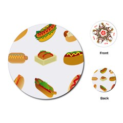 Hot Dog Buns Sauce Bread Playing Cards (round)  by Mariart