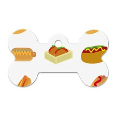 Hot Dog Buns Sauce Bread Dog Tag Bone (one Side) by Mariart