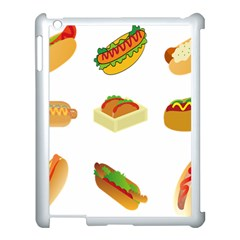 Hot Dog Buns Sauce Bread Apple Ipad 3/4 Case (white) by Mariart