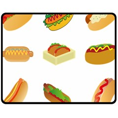 Hot Dog Buns Sauce Bread Double Sided Fleece Blanket (medium)  by Mariart