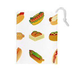 Hot Dog Buns Sauce Bread Drawstring Pouches (large)  by Mariart