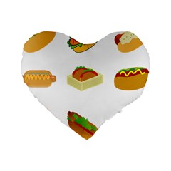 Hot Dog Buns Sauce Bread Standard 16  Premium Flano Heart Shape Cushions by Mariart
