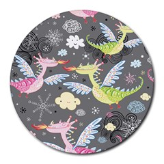 Dragonfly Animals Dragom Monster Fair Cloud Circle Polka Round Mousepads by Mariart