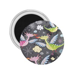 Dragonfly Animals Dragom Monster Fair Cloud Circle Polka 2 25  Magnets by Mariart