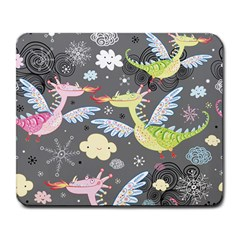 Dragonfly Animals Dragom Monster Fair Cloud Circle Polka Large Mousepads by Mariart