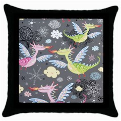 Dragonfly Animals Dragom Monster Fair Cloud Circle Polka Throw Pillow Case (black) by Mariart