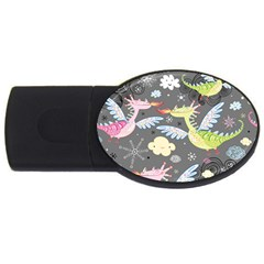 Dragonfly Animals Dragom Monster Fair Cloud Circle Polka Usb Flash Drive Oval (2 Gb) by Mariart