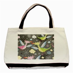Dragonfly Animals Dragom Monster Fair Cloud Circle Polka Basic Tote Bag (two Sides) by Mariart