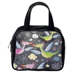 Dragonfly Animals Dragom Monster Fair Cloud Circle Polka Classic Handbags (one Side) by Mariart