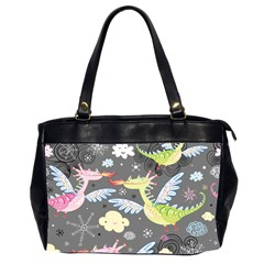 Dragonfly Animals Dragom Monster Fair Cloud Circle Polka Office Handbags (2 Sides)  by Mariart