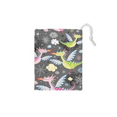 Dragonfly Animals Dragom Monster Fair Cloud Circle Polka Drawstring Pouches (xs)  by Mariart