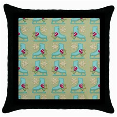Ice Skates Background Christmas Throw Pillow Case (black) by Mariart