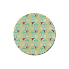 Ice Skates Background Christmas Magnet 3  (round) by Mariart