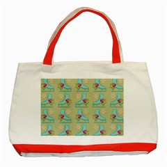 Ice Skates Background Christmas Classic Tote Bag (red) by Mariart