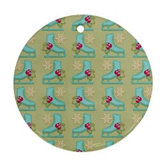 Ice Skates Background Christmas Round Ornament (two Sides) by Mariart
