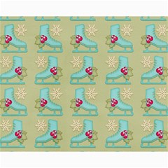 Ice Skates Background Christmas Canvas 8  X 10  by Mariart