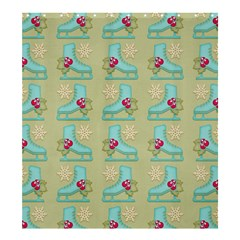 Ice Skates Background Christmas Shower Curtain 66  X 72  (large)  by Mariart
