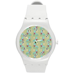 Ice Skates Background Christmas Round Plastic Sport Watch (m)