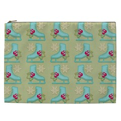 Ice Skates Background Christmas Cosmetic Bag (xxl)  by Mariart