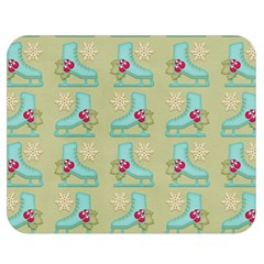 Ice Skates Background Christmas Double Sided Flano Blanket (medium)  by Mariart