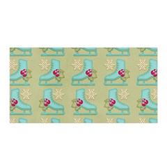 Ice Skates Background Christmas Satin Wrap by Mariart