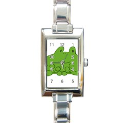 Illustrain Frog Animals Green Face Smile Rectangle Italian Charm Watch by Mariart
