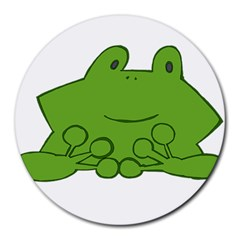 Illustrain Frog Animals Green Face Smile Round Mousepads by Mariart