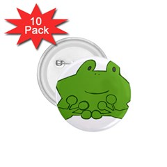 Illustrain Frog Animals Green Face Smile 1 75  Buttons (10 Pack)