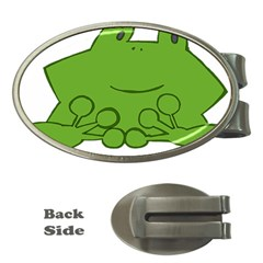 Illustrain Frog Animals Green Face Smile Money Clips (oval)  by Mariart