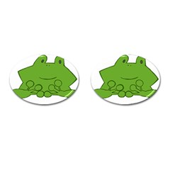 Illustrain Frog Animals Green Face Smile Cufflinks (oval) by Mariart